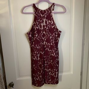 Burgundy and cream lace homecoming dress